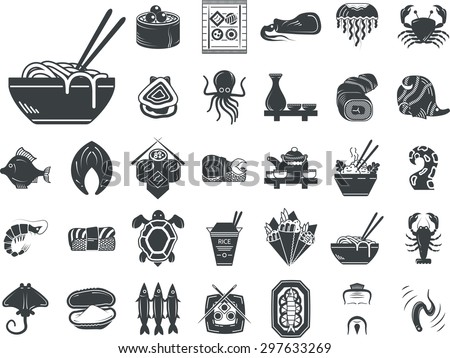 Set of black silhouette stylish vector icons for seafood and japanese food. Sushi set, serving, fish, shellfish, exotic food and other for business and website - stock vector