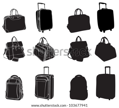 set of black silhouettes bags and suitcases - stock vector