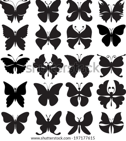 Set of black silhouettes of butterflies. Variety of stylized forms. - stock vector