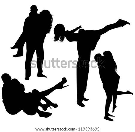 set of black silhouettes of couples, a guy and a girl