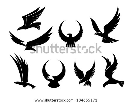 Set of black silhouettes of graceful flying eagles logo with their outspread wings for heraldry and hunting design - stock vector