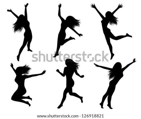 Set of black silhouettes of jumping women - stock vector