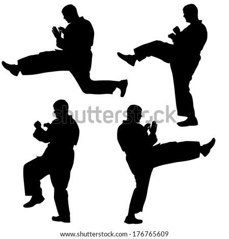 Set of black silhouettes of karate. Sport vector illustration. - stock vector