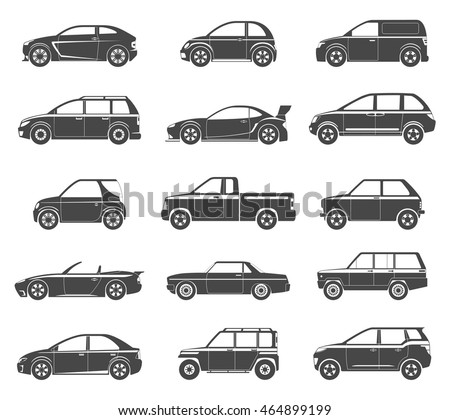 Set Of Black Silhouettes Passenger Car Icons. Isolated Vector Illustration