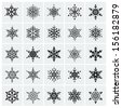 Set of black snowflakes icon. Vector illustration. - stock vector