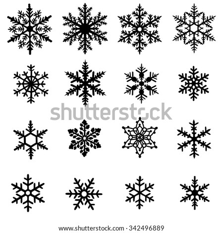 Set of black snowflakes isolated on white background - stock vector