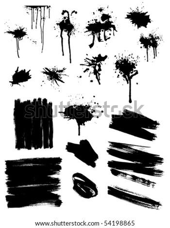 set of black splashes and brush strokes - stock vector
