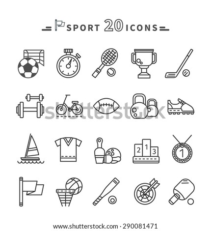 Set of black sport thin, lines, outline icons in flat design on white background. Hockey, bat, stick, racket, tennis, baseball, tennis ball, ping pong silhouettes. For web and mobile applications