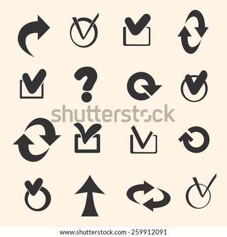 Set of black symbols. Vector - stock vector