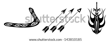 set of black tattoo evolution of arms on a white background