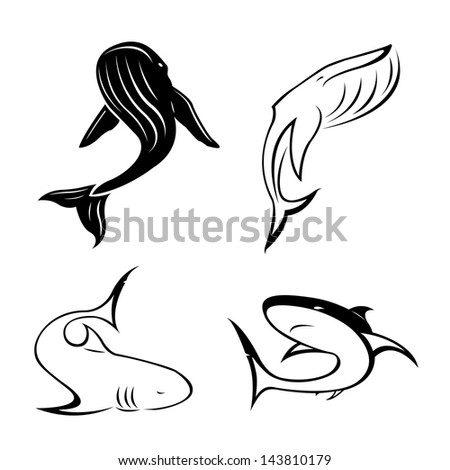 set of black tattoo in the shape of sharks, killer whales and sperm whales on a white background - stock vector