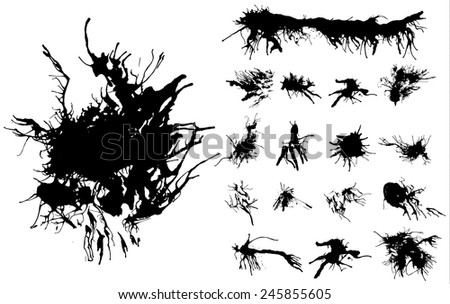 Set of black traced ink splatters. Vector clip-art. Ink blots with long tentacles.  - stock vector