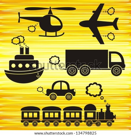 set of black transport icons on yellow background - stock vector