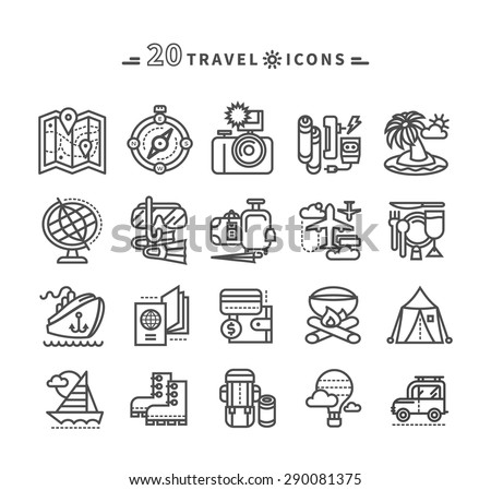 Set of black travel thin, lines, outline icons of summer vacation, tourism and journey. Items for travel in flat design on white background. For web and mobile applications  - stock vector