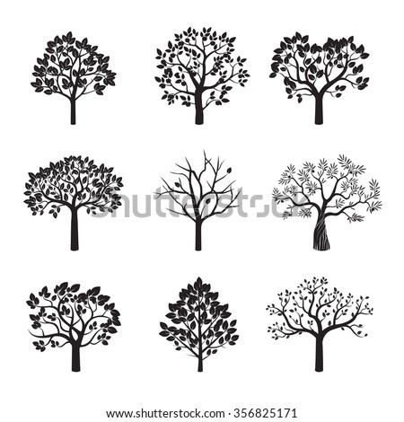 Set of Black Trees and Roots. Vector Illustration. - stock vector