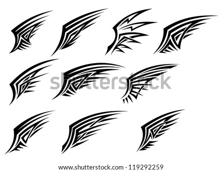 Set of black tribal wing tattoos isolated on white background, such a logo template. Jpeg version also available in gallery - stock vector