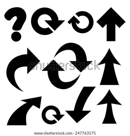 Set of black universal arrows and symbols. - stock vector