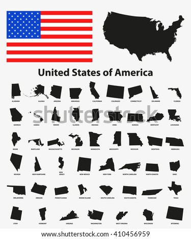 Set of black USA states on white background - vector illustration. Simple flat map - United States. USA flag, general map and all states individually. - stock vector