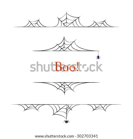 Set of black vector halloween borders on white background. - stock vector