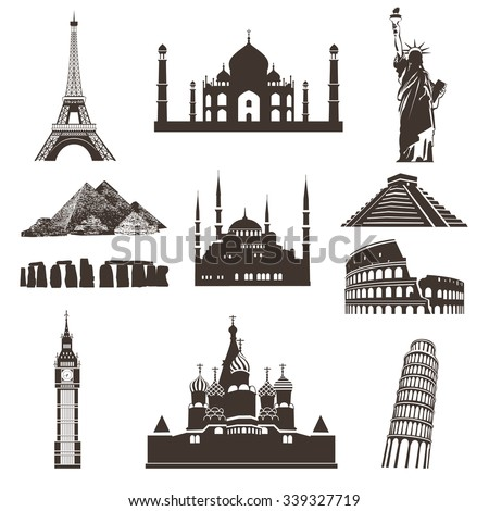 Set of black vector icons of the most famous places in the world on wight background - stock vector