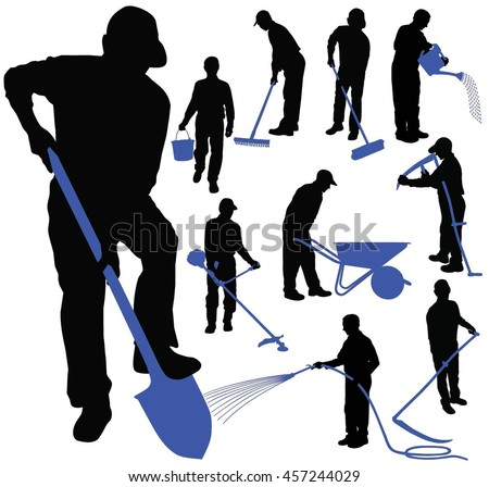 Set of black vector silhouettes of men working in garden with different colored instruments. Men  in different poses holding in his hands instruments for garden work. Icons of gardening men.
