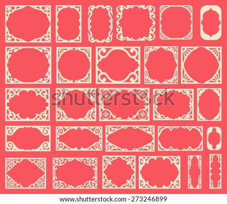Set of black vintage frames, design elements - stock vector