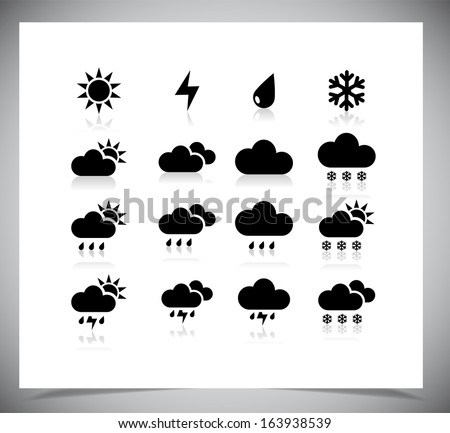 Set of black weather icons. Vector illustration. - stock vector