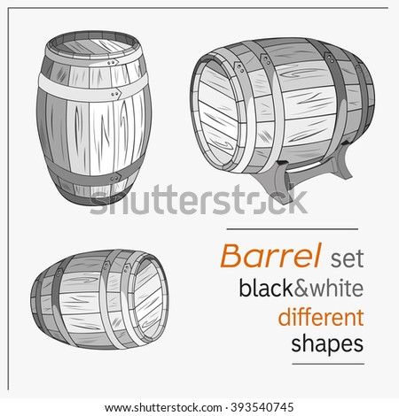 Set of black-white drawing barrels different shapes. Keg and drink, wooden cask, container beer, vector illustration over white background. Wine or beer wooden drawn barrels.