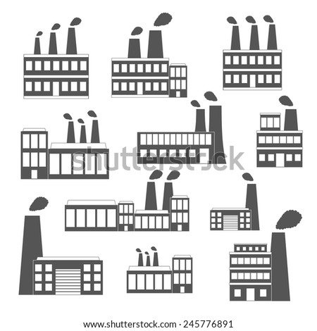 Set of black-white factory icons for your design - stock vector