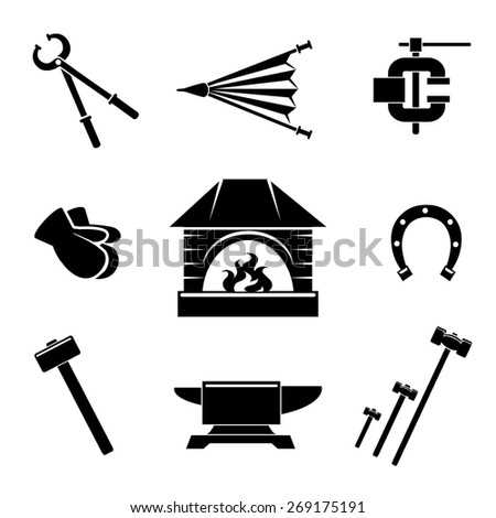 Set of blacksmith icons. Gloves and instrument, vise and ironwork. Vector illustration - stock vector