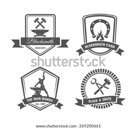 Set of blacksmith labels. Element and smith, metal and tongs, emblem and hummer. Vector illustration - stock vector