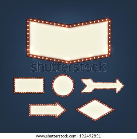 Set of blank american advertising road signs with light bulbs of different shapes on dark background. EPS10 vector. - stock vector