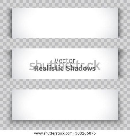 Set of blank banner sheet of paper with shadow material design element for advertising and promotional isolated on transparent background. Vector illustration white horizontal sticker Empty copy space - stock vector