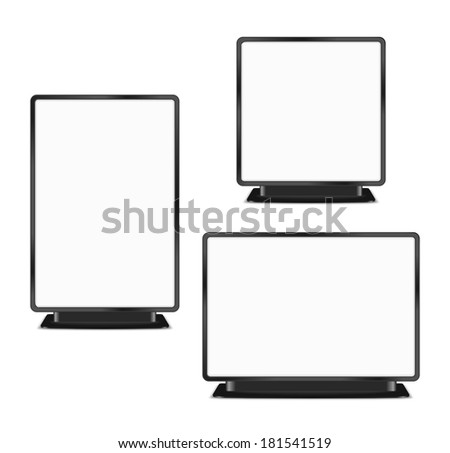 Set of blank billboards on white background, vector eps10 illustration - stock vector