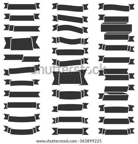 Set of 31 blank black ribbons, can be used as design elements for your emblem or logo, labels, awards, etc, vector eps10 illustration - stock vector