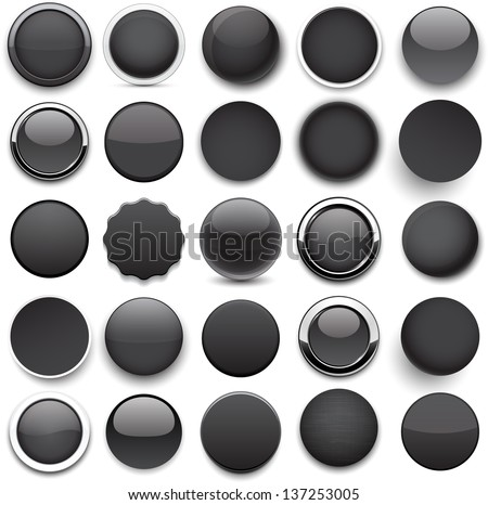 Set of blank black round buttons for website or app. Vector eps10. - stock vector