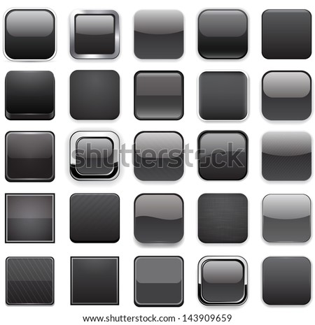 Set of blank black square buttons for website or app. Vector eps10. - stock vector
