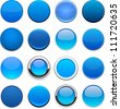 Set of blank blue round buttons for website or app. Vector eps10. - stock vector
