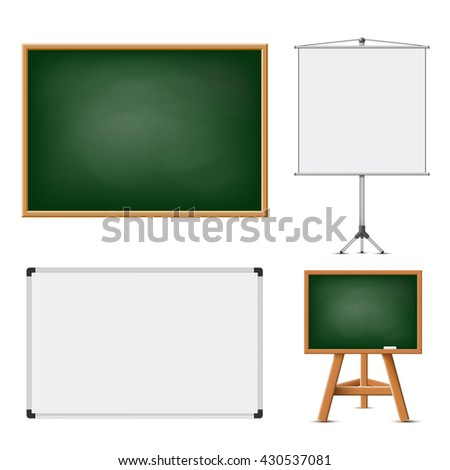 Set of blank boards for education and presentations. Isolated on white background. Stock vector illustration. - stock vector