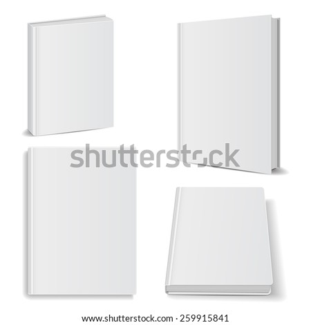 Set of blank books front view cover white. isolated oh white background ,vector illustrations, manual ebook concept - stock vector