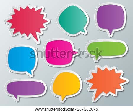set of blank colorful paper speech bubbles. infographic elements. vector. - stock vector