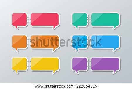 set of blank colorful paper speech bubbles stapled in flat style. vector.