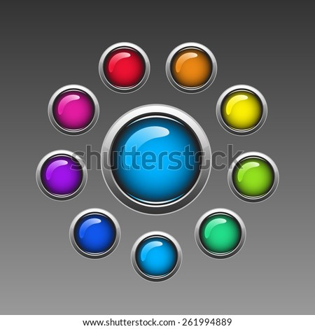 Set of blank colorful rectangular glassy buttons for website. Vector EPS 10. - stock vector