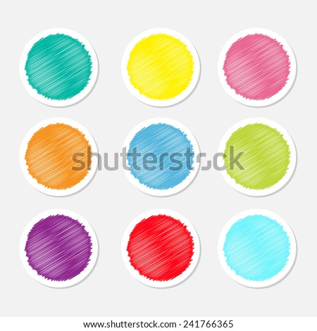 Set of blank colorful round label buttons tag sticker for website Scribble effect Isolated Flat design Vector illustration