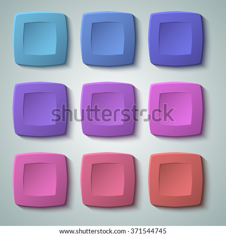 Set of blank colors buttons for website or app. Vector eps10, matte plastic texture with glow effect design and squares shape elements, backdrop banner concave dent. - stock vector