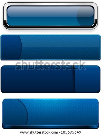 Set of blank dark-blue buttons for website or app. Vector eps10.  - stock vector