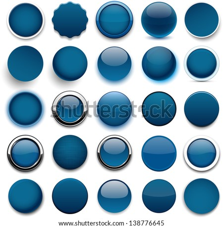 Set of blank dark blue round buttons for website or app. Vector eps10. - stock vector