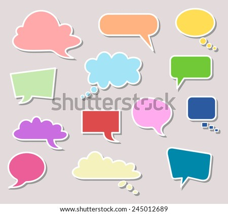 Set of blank empty colorful speech bubbles. Different design and color of comic bubble cloud collection - yellow, blue, red, green, orange... vector art image illustration, isolated on gray background - stock vector