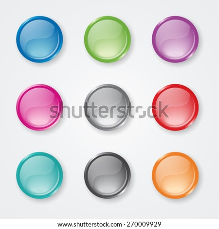 Set of Blank Glossy Buttons - EPS10