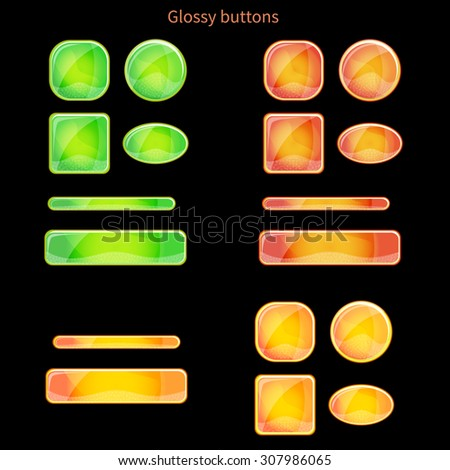 Set of blank glossy buttons for website, app or game. Vector eps10 design elements. Square and round forms. Colors - green and orange. - stock vector
